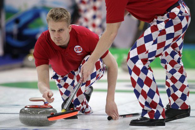 Norwegian curling team wears Loudmouth Golf pants during the 2010 Vancouver Olympic Games.