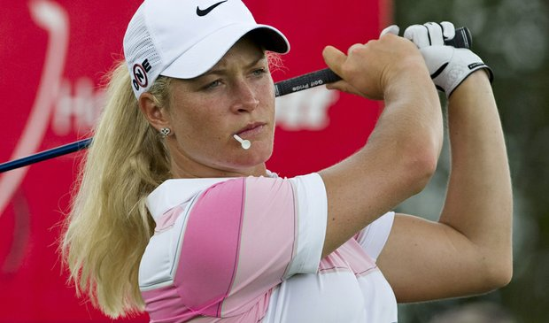 Suzann Pettersen practice before teeing off on the seventh hole during the Round 1 of the Honda PTT LPGA Thailand.