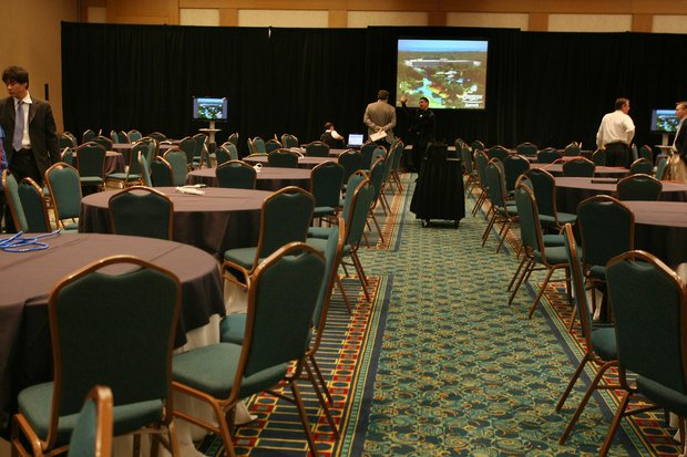 The Champions Room D/E at the Marriott at Sawgrass, hours before the 11 a.m. news conference.