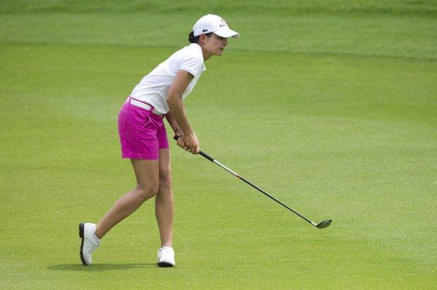 Lorena Ochoa reacts to her shot at the Honda PTT LPGA event in Thailand.