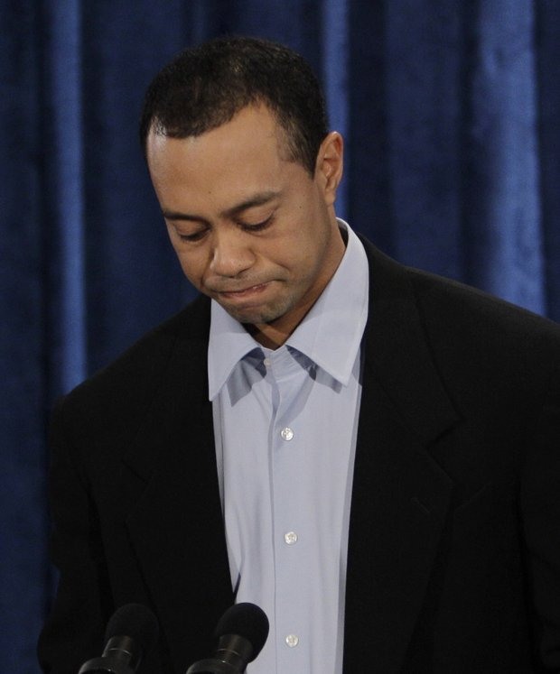 Tiger Woods during Friday's statement.