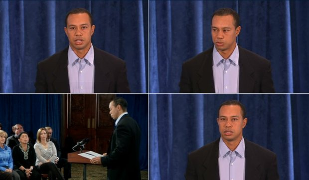 Screenshots from Tiger Woods' statement live-streamed on PGATour.com Feb. 19.