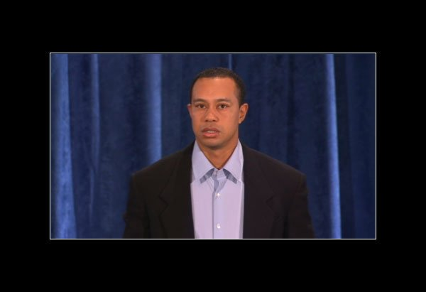 A screenshots from the live stream of Tiger Woods' statement on PGATour.com Feb. 19.