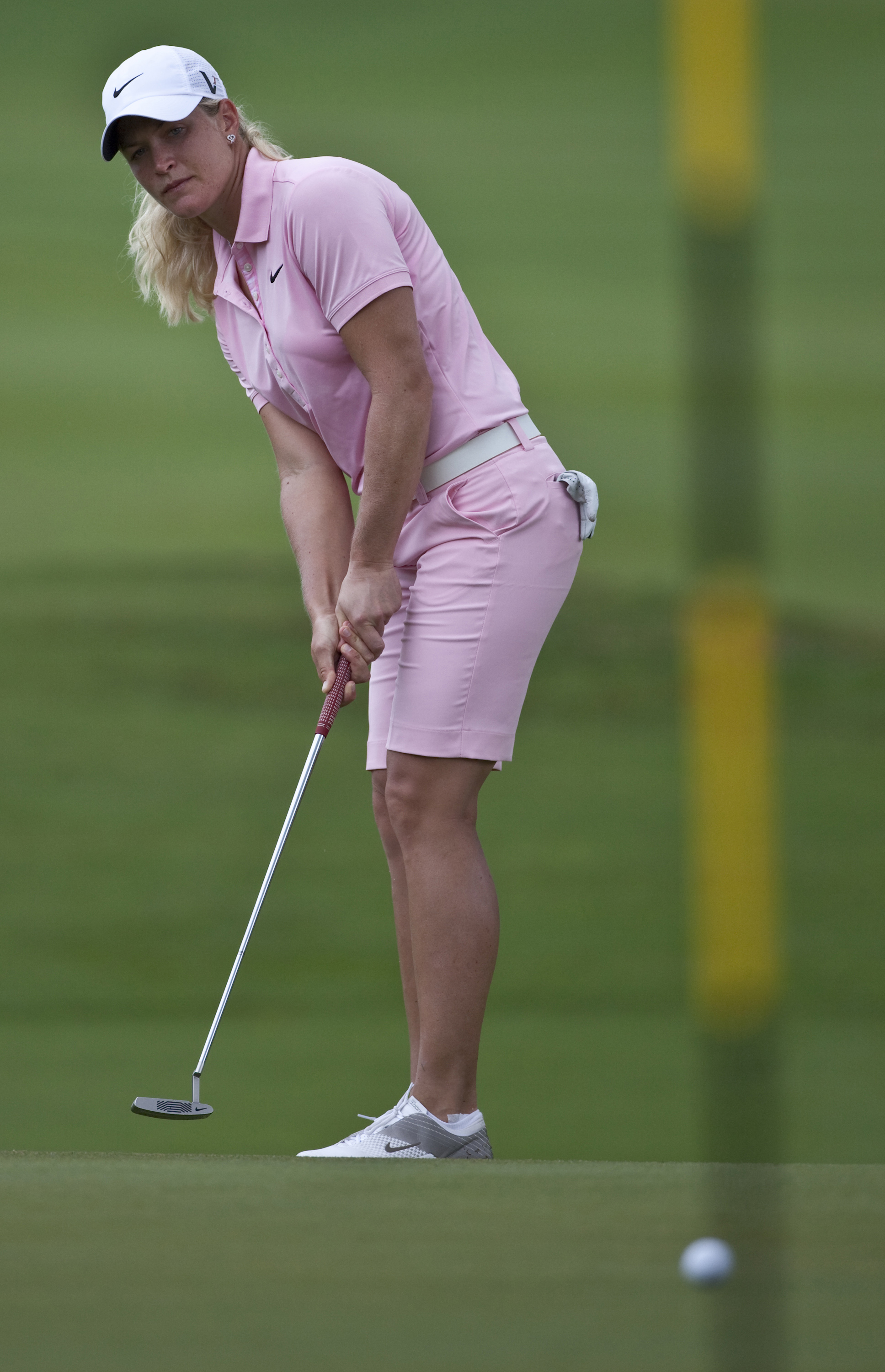 Suzann Pettersen watches a putt during the third round of the LPGA Thailand.