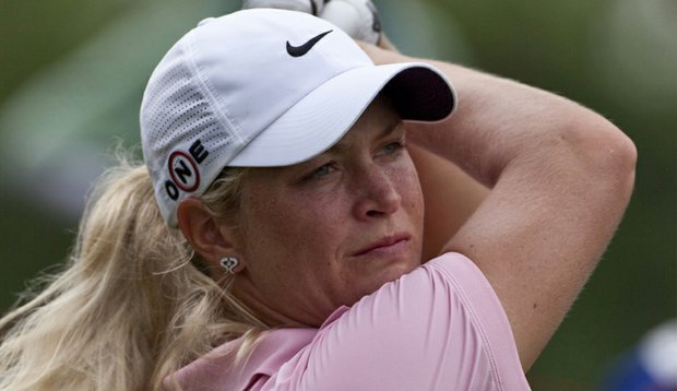 Suzann Pettersen watches a tee shot during third round of the LPGA Thailand.