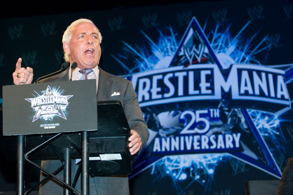 Wrestler Ric Flair at the 25th Anniversary of WrestleMania press conference March 31, 2009.
