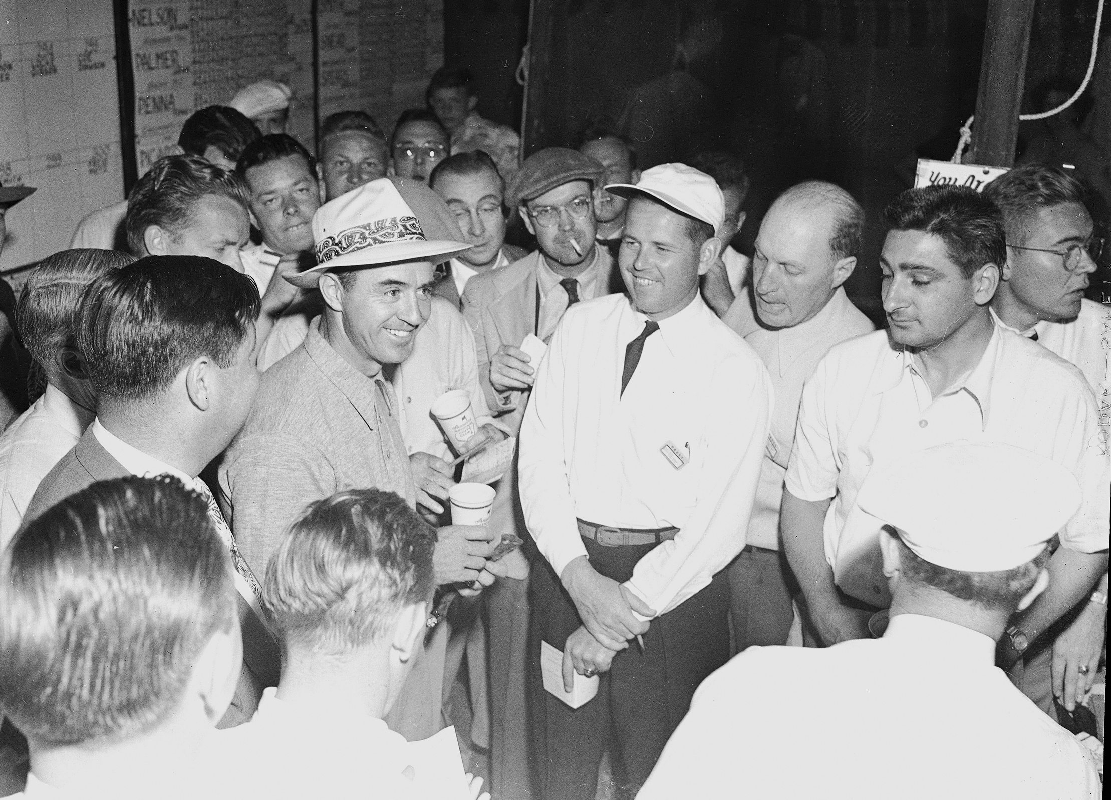Sam Snead answers media questions at the 1949 Masters.