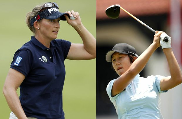 Angela Stanford (left) and Song-Hee Kim share the lead heading into the weekend at the HSBC Champions.