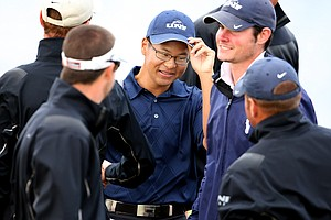 Joe Byun is congratulated by his University of North Florida teammates after he led his team to victory on Tuesday at the John Hayt Collegiate Invitational.