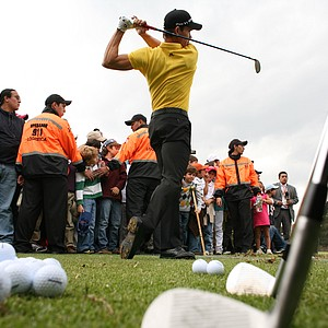 Camilo Villegas hits the ball during a golf exhibition in Bogota, Colombia, on March 2.