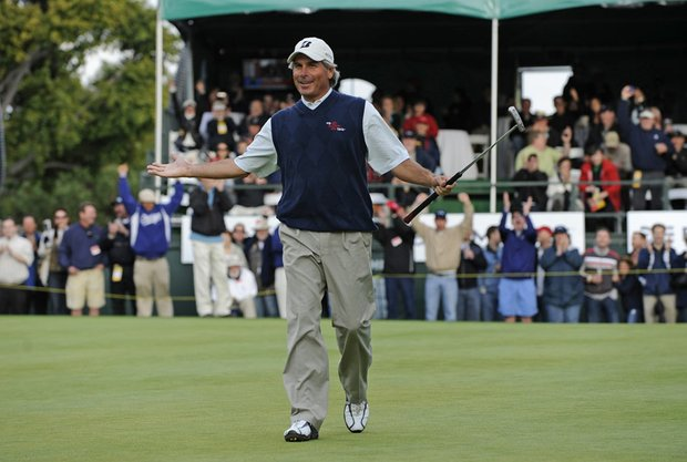 Fred Couples celebrates after winning the Toshiba Classic, his second victory in a row on the Champions Tour.