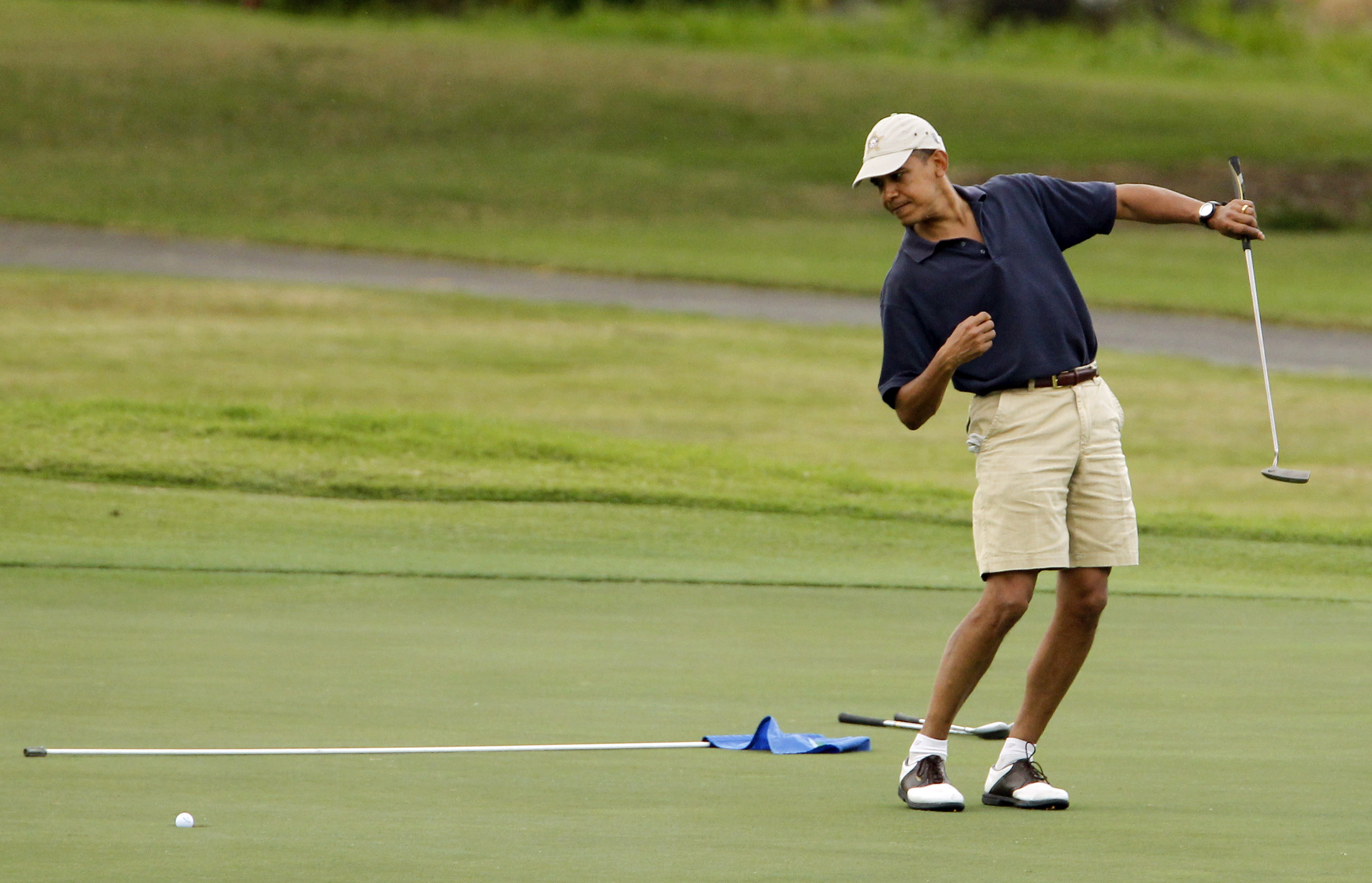 President Obama at Mid-Pacific County Club in Kailua, Hawaii, on Dec. 31, 2009.