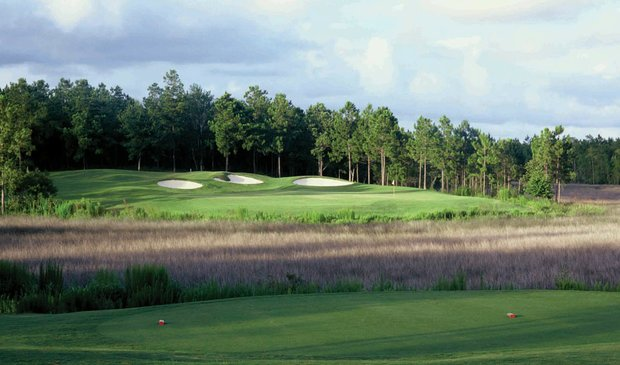 The par-3 17th at Shell Landing Golf Club in Gautier, Miss.