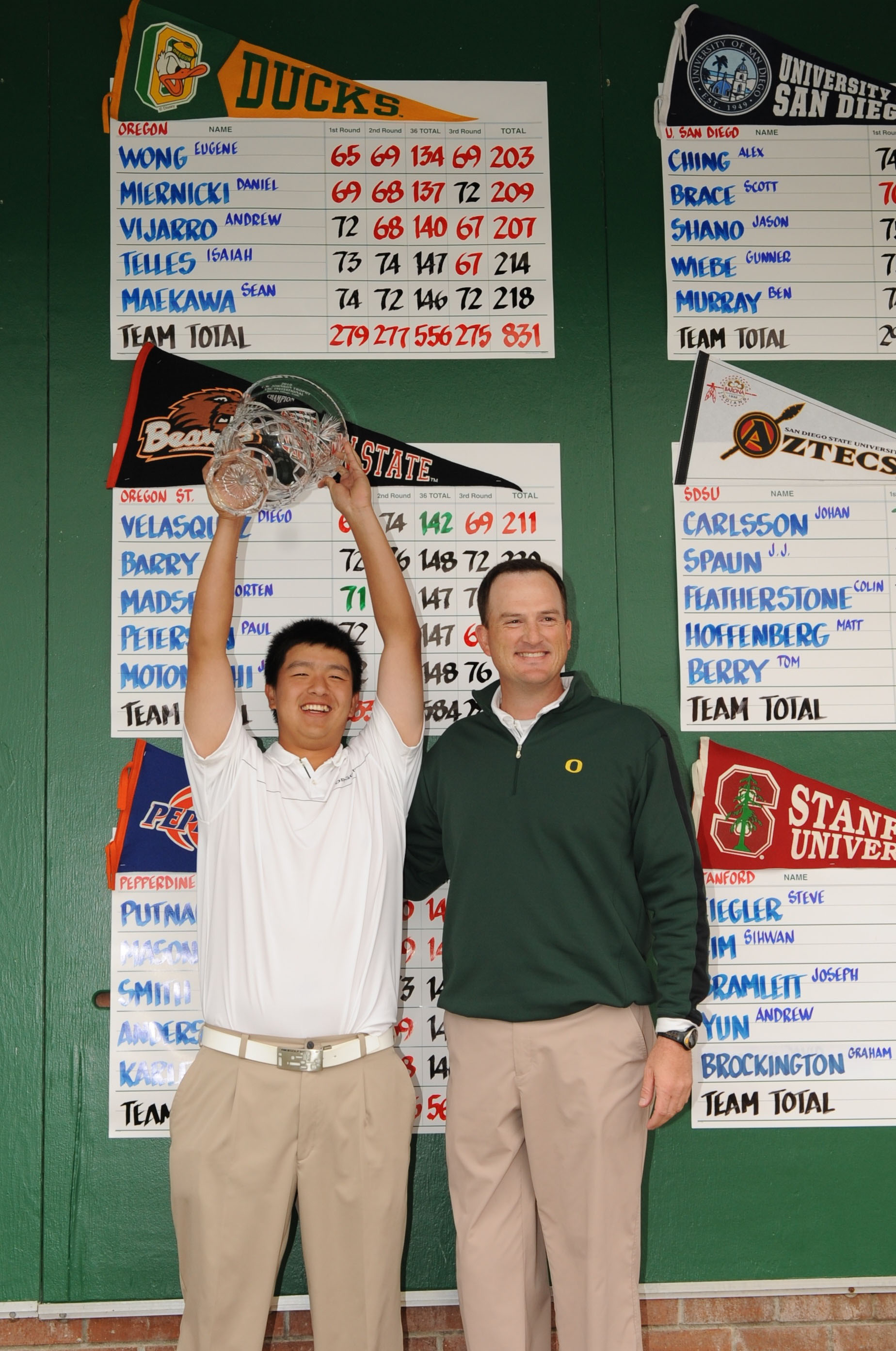 Oregon coach Casey Martin and sophomore Eugene Wong celebrate after winning the USC Invitational.