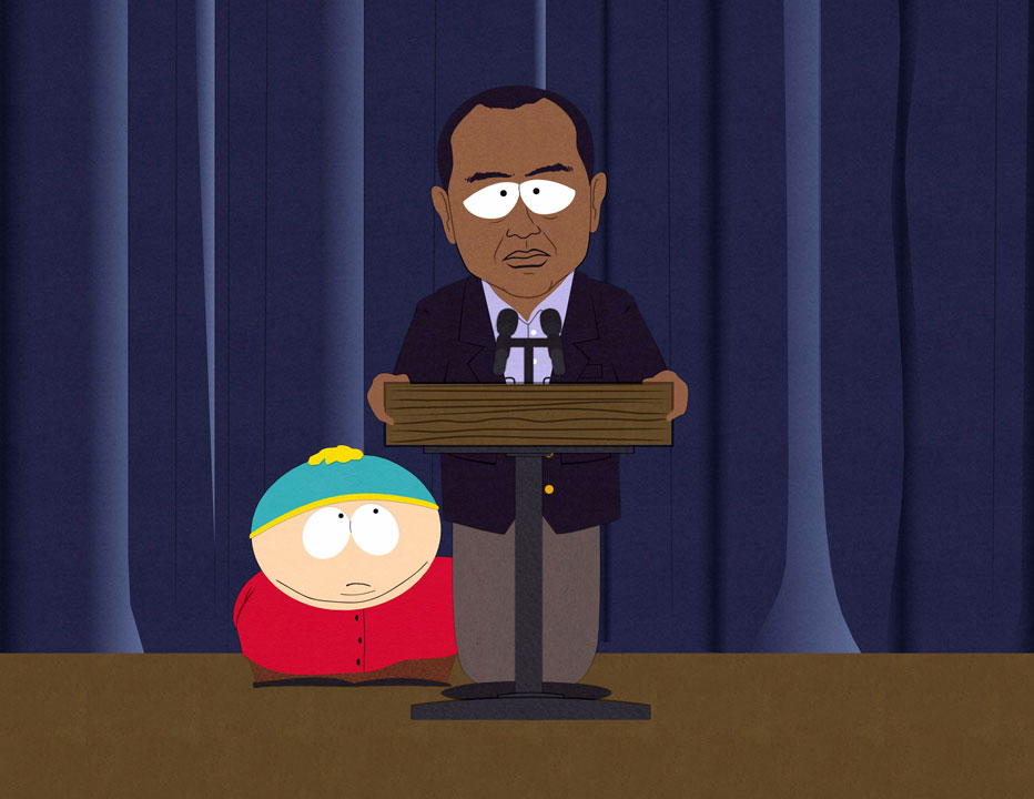 "Cartoon character Eric Cartman, left, and an animated version of golfer Tiger Woods are shown in a scene from the 14th season premiere of the animated series, ""South Park,"" airing Wednesday, March 17, at 10 p.m. on Comedy Central."