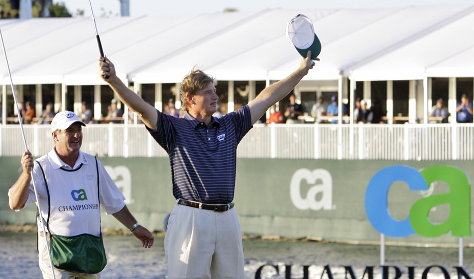 Ernie Els celebrates after winning the CA Championship.