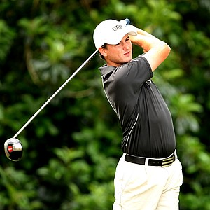 Brad Schneider of UCF hits his tee shot at No. 10. Schneider closed with a 70.