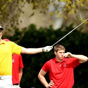 University of Toledo's Ben Boyer signals his tee shot left at No. 1.