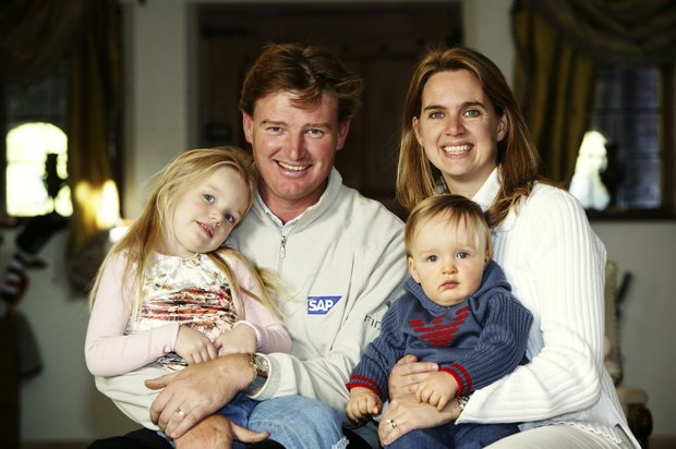 Ernie Els with wife Liezl, daughter Samantha and son Ben at home in 2003.