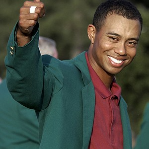 Tiger Woods after winning the 2002 Masters.