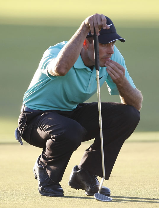 Charl Schwartzel lines up a putt during the third round at the CA Championship at Doral.