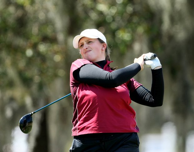 Erica Moston watches her tee shot during the first round of the Florida's Natural Charity Classic.