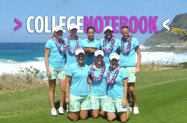 The Rollins women's golf team poses with the trophy following its victory at the Dr. Donnis Thompson Invitational. Bottom row (left to right): Kelly Krusoe, Joanna Coe, Brianna Seo. Top row (left to right): Elin Marcsdottir, Fabia Rothenfluh, Cecilia Kleinert, Daniela Vargas, Amanda Henry.