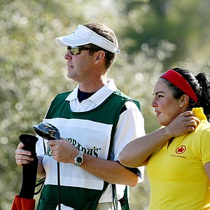 Mike Whan stands with Lili Alvarez at the Florida's Natural Charity Classic.