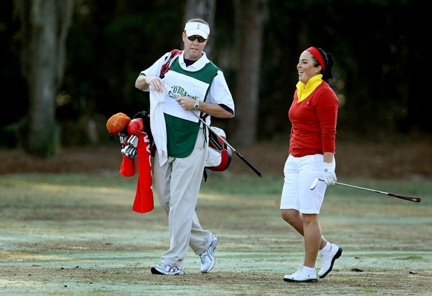 Mike Whan and Lili Alvarez share a laugh at the Florida's Natural Charity Classic.
