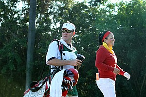 LPGA Commissioner Mike Whan was on the bag for Lili Alvarez during the first round of the Duramed Futures Tour's season-opening Florida's Natural Charity Classic.