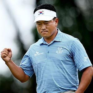 K.J. Choi pumps a fist after a birdie at No. 6 at Innisbrook.