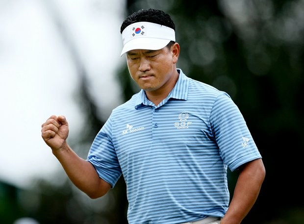 K.J. Choi pumps a fist after a birdie at No. 6 at Innisbrook.
