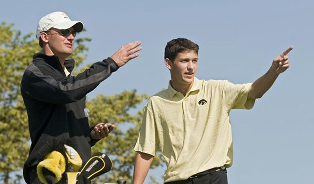 Iowa coach Mark Hankins and junior Brad Hopfinger, pictured at the 2009 Golfweek Conference Challenge.