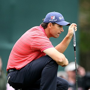 Padraig Harrington looks at a putt at No. 6 during the final round of the Transitions Championship.