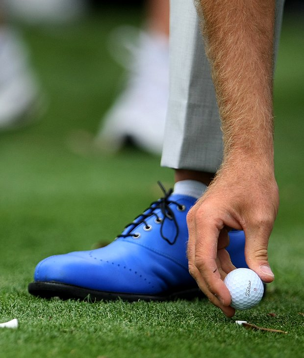 Ian Poulter playing for Lake Nona brought out his colorful golf shoes for the Tavistock Cup.