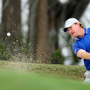 Team Nona captain Ernie Els hits out of a bunker at No. 17 during the 2010 Tavistock Cup at Isleworth Golf and Country Club on Monday.