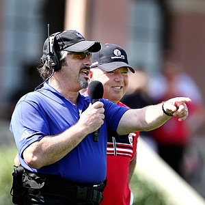 Golf Channel's David Feherty jokes around with Team Isleworth's captain Mark O'Meara at the first tee of the Tavistock Cup on Monday.