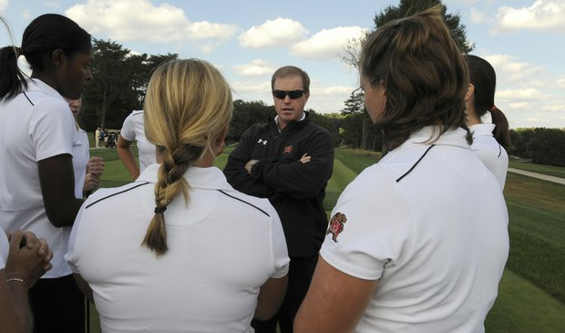 Maryland women's coach Jason Rodenhaver speaks with his team.