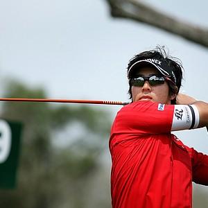 Ryo Ishikawa watches his tee shot at No. 9. Ishikawa shot a 74 in the first round.