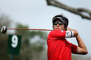 Ryo Ishikawa watches his tee shot at No. 9. Ishikawa shot a 74 in the first round.