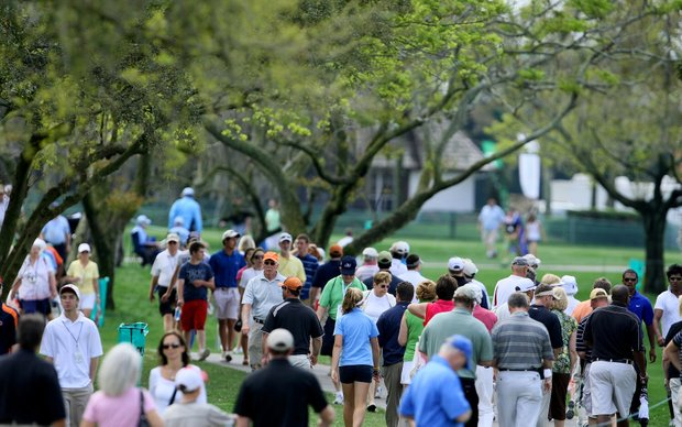 Spectators walk the course during the second round of the Arnold Palmer Invitationa.