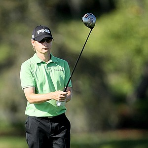 Heath Slocum prepares to hit his tee shot at the 16th at Bay Hill.