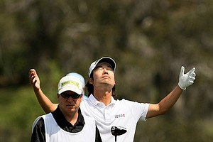 Kevin Na at the par-5 16th at Bay Hill.