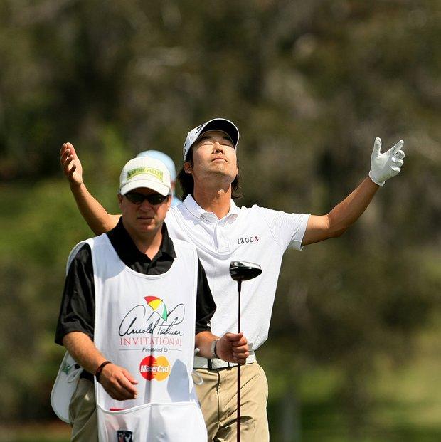 Kevin Na at the par-5 16th at Bay Hill.