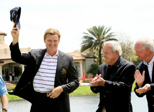 Ernie Els slips on the Arnold Palmer Invitational jacket after winning Monday.