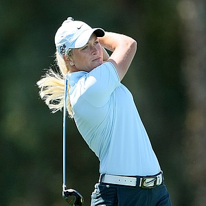 Suzann Pettersen tees off at No. 6, she posted a 67 in the first round.