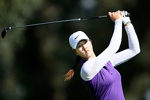 Michelle Wie hits her tee shot at No. 16. She posted a 71 in the first round.