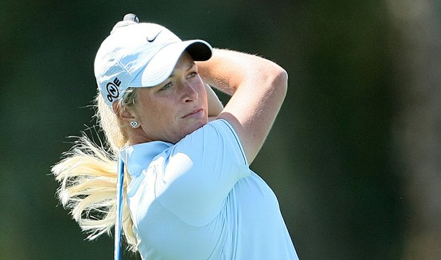 Suzann Pettersen during the first round of the Kraft Nabisco Championship on April 1.