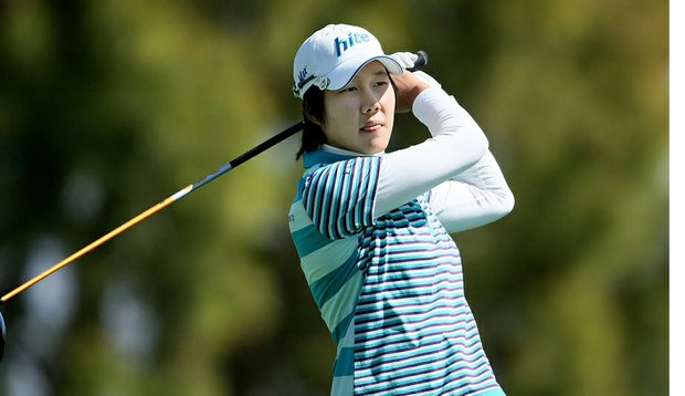 Song-Hee Kim, shown here in Round 1, has a one-stroke lead after the second round of the Kraft Nabisco Championship.