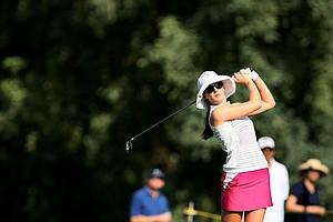 Sandra Gal hits her tee shot at No. 16.